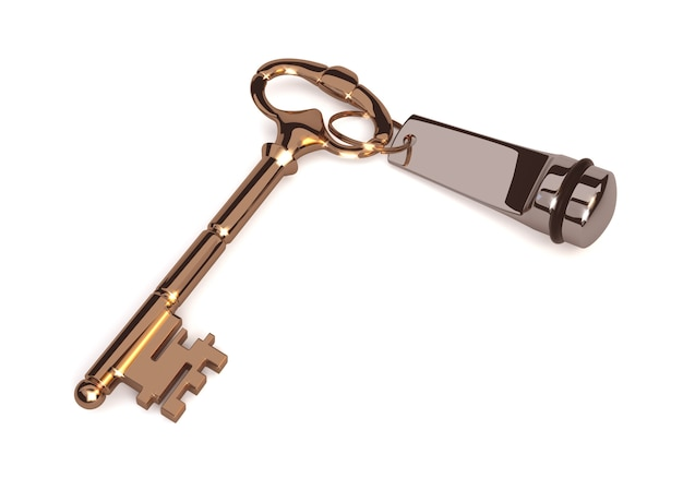 Золотой ключик в старом стиле, на белом фоне