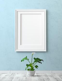 インテリアをモックアップします。青い漆喰壁に空白のキャンバスで絵を描く。