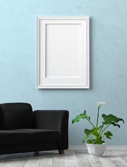 Макет интерьера. картина с пустым холстом на синей штукатурке стен.