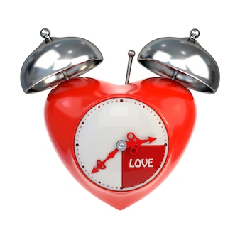 赤のレトロな目覚まし時計、白い背景で隔離。