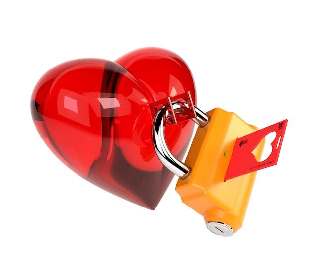 白い背景で隔離の南京錠と赤いハート。ロックとキーの下の心。