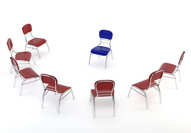 Набор красных стульев и один синий, изолированных на белом фоне.