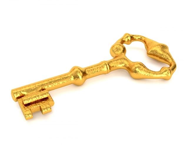 白い背景に分離された黄金の鍵。