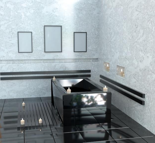 キャンドル付きのセラミックバス付きのモダンなバスルーム。