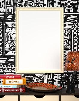 Макет интерьера. книги на деревянном столе. яркая африканская тарелка и лампа с традиционными орнаментами.