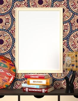 Макет интерьера. книги на деревянном столе. яркие легкие блюда и традиционный египетский орнамент.