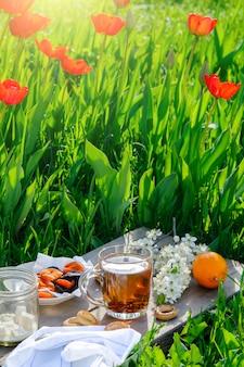 春にお茶とシンプルな朝食を屋外で