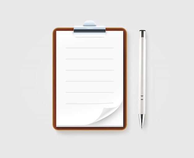 ホワイトペーパーとペン空白の茶色のクリップボード