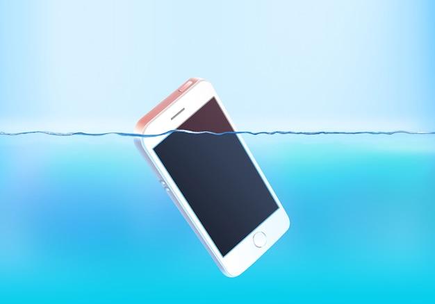 水面に空白の白い電話画面シンク