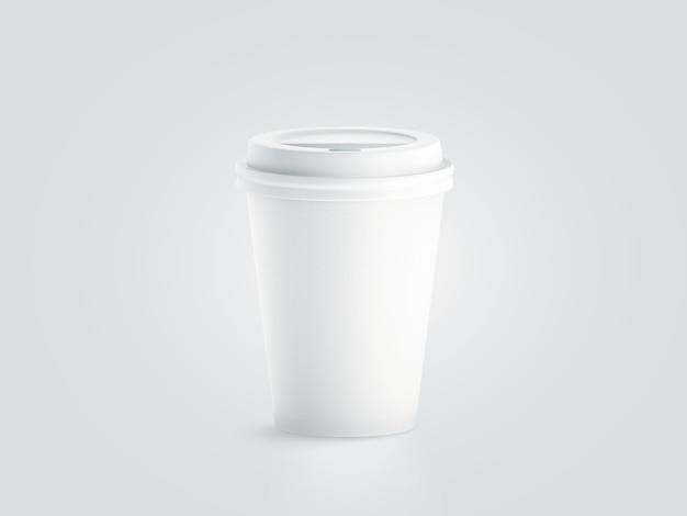 プラスチック製のふた付きの空白の白い使い捨て紙コップ