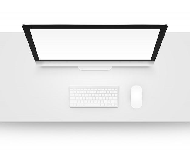 Дисплей компьютера макет с клавиатурой и мышью