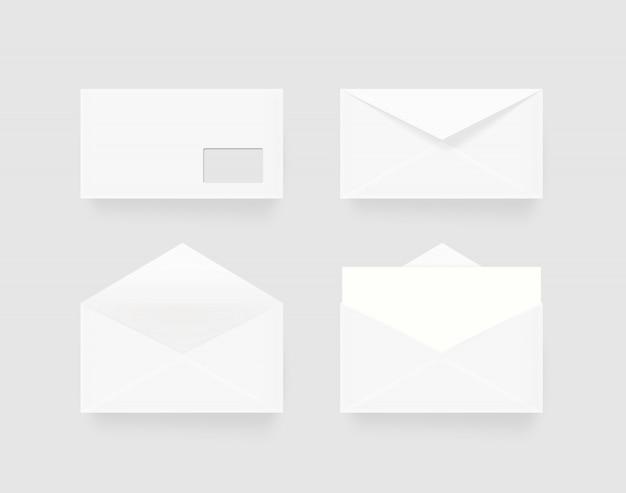 分離された白い空白封筒セット
