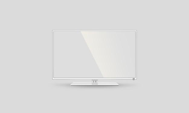 Пустой белый телевизор с плоским экраном