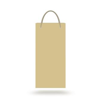 分離されたハンドルを持つ空白のクラフトワインペーパーバッグ