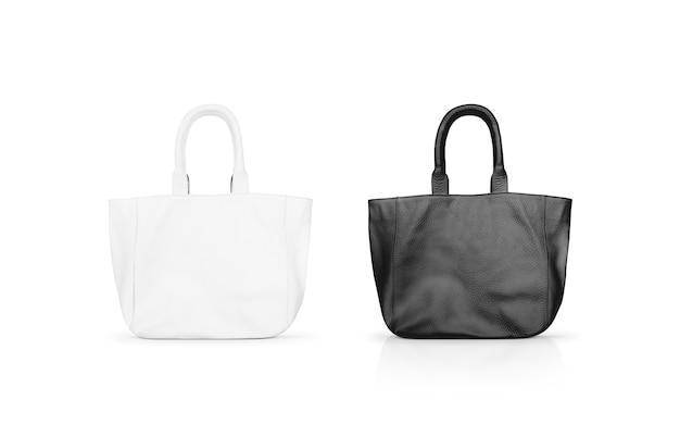 空白の黒と白の女性の革のバッグは、分離モックアップします。