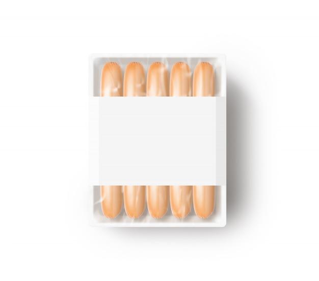 Колбаса в пустой белой пластиковой одноразовой коробке