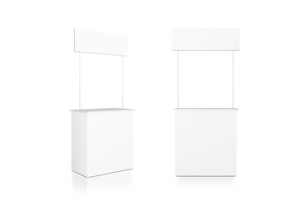 空白の白いプロモーションカウンタースタンド、正面図と側面図