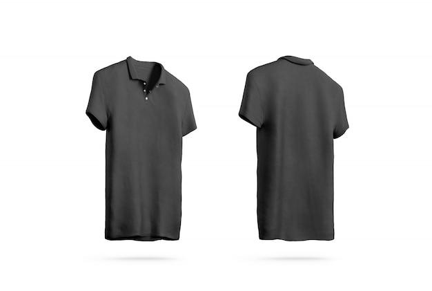 空白の黒のポロシャツ、フロントバックサイドビュー