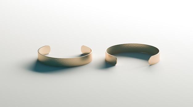 空白のゴールドカフブレスレット前面および背面側ビュー、分離