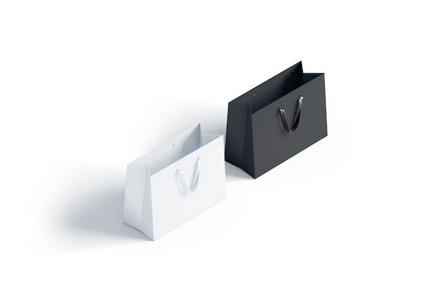 シルクハンドル付きの空白の黒と白の紙袋