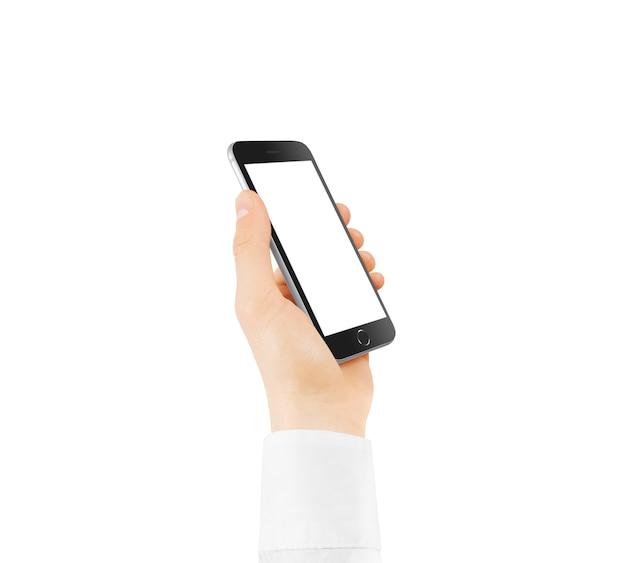 手で保持している黒い電話空白の画面