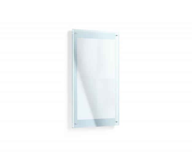 アクリルホルダーの下の空白の白い折られたポスターモックアップ