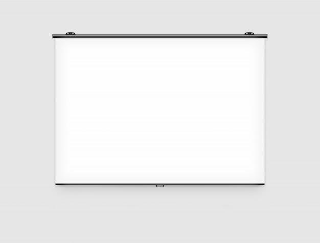 壁に空白のプロジェクタースクリーンモックアップ