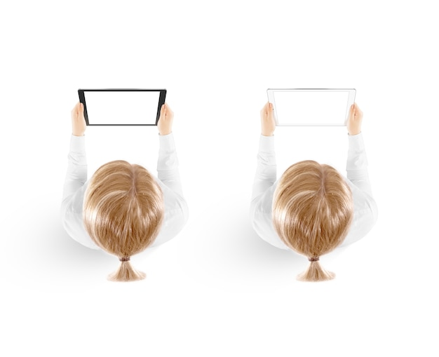 Женщина, держащая планшетный пк макет в руке вид сверху, изолированные