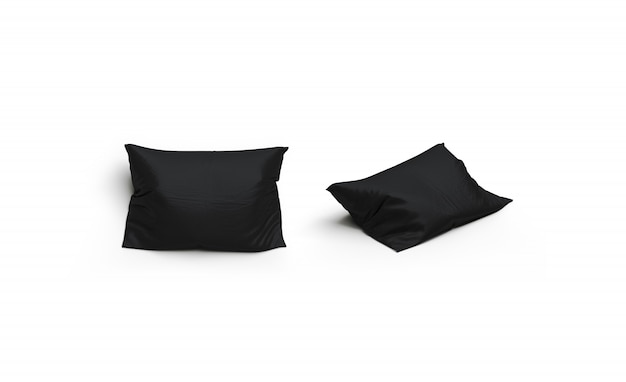 分離された空白の黒い枕セット、正面図と側面図