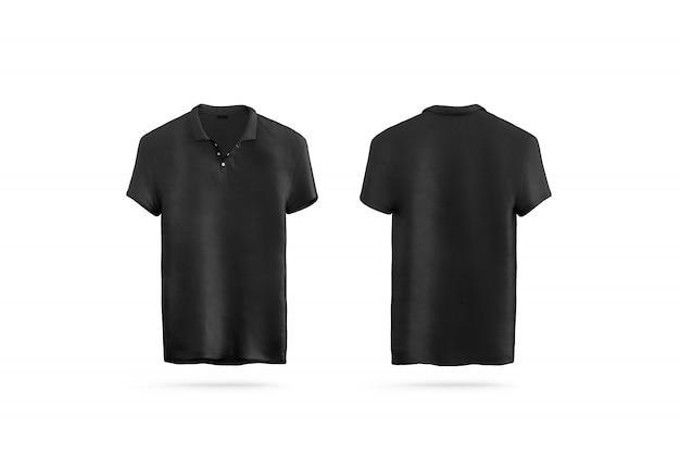 分離された空白の黒のポロシャツ、フロントとバック