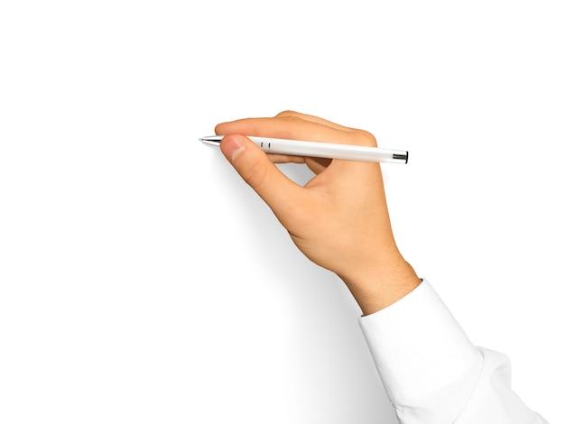 Рука держит пустую белую ручку