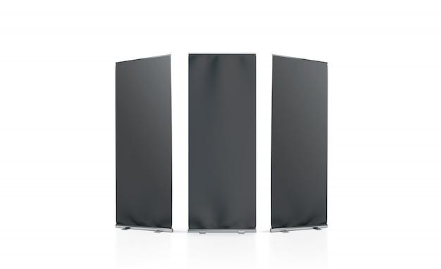 空白の黒いロールアップバナーの前面、左側、右側