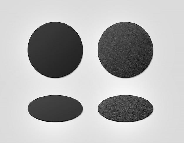Пустые черные и пробковые текстурированные подставки под пиво
