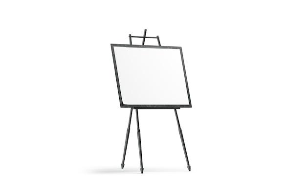 空白の白いアートキャンバスは黒い木製イーゼルの上に立つ