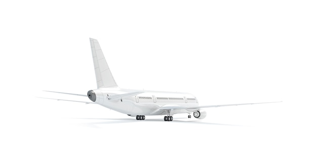 空白の白い飛行機のモックアップスタンド、分離された背面ビュー