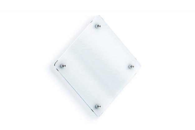 空白の菱形ガラス看板プレート壁掛け