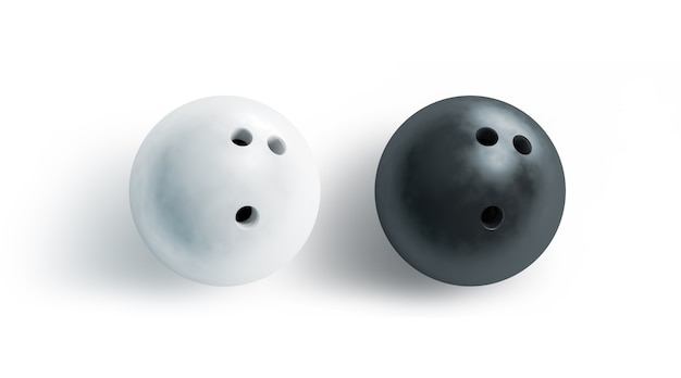 空白の黒と白のボウリングボール、トップビュー