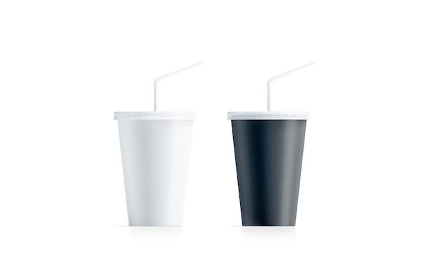 Пустой черно-белый маленький одноразовый стаканчик соломка