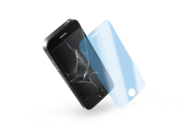 壊れた画面を持つ電話保護ガラス。