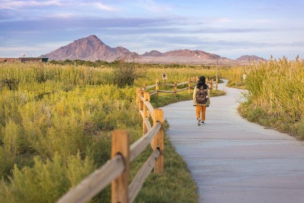 ウェットランズ公園ラスベガスのトレイルを歩く女性