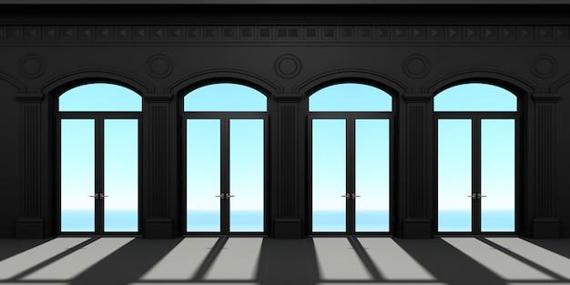 四つのアーチ型のドア