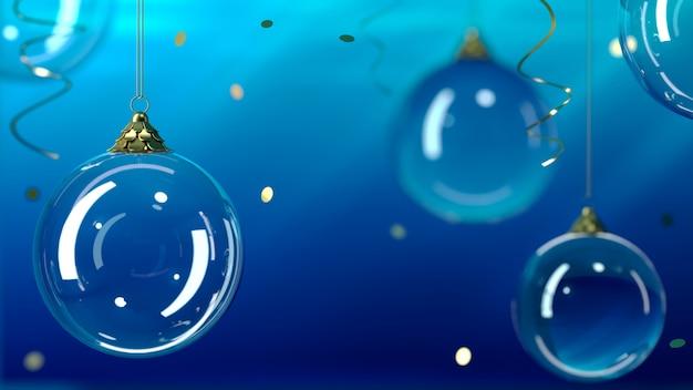 図。背景ガラスクリスマスボール、青い背景に。