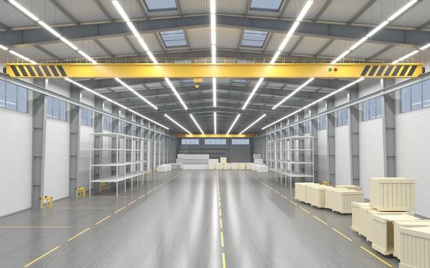 新しい空の倉庫または工場
