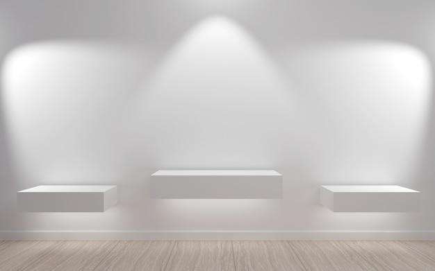導かれたライトが付いているミニマリスト様式の空の棚。