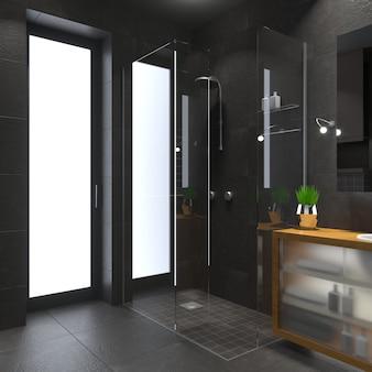 ガラス張りのモダンなシャワールーム。