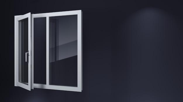 開いている白い近代的なプラスチック製の窓。