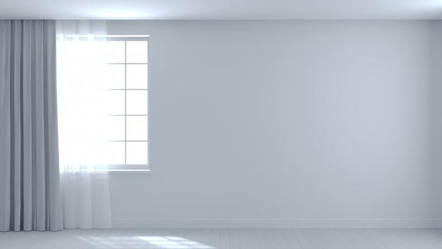 背景の空の白い部屋の梁