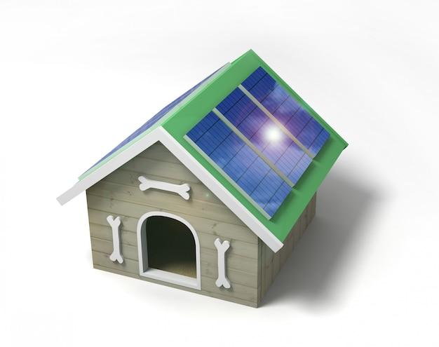 ソーラーパネル付き犬小屋