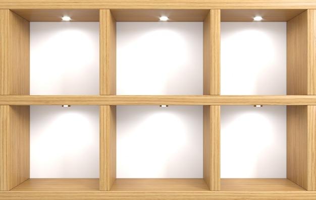 木製の棚と店の壁