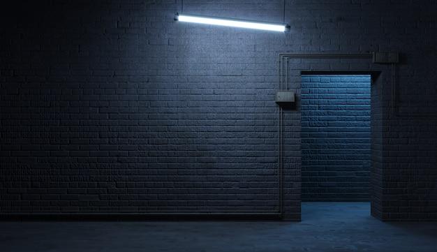 夜の通りのファサードのレンガの壁